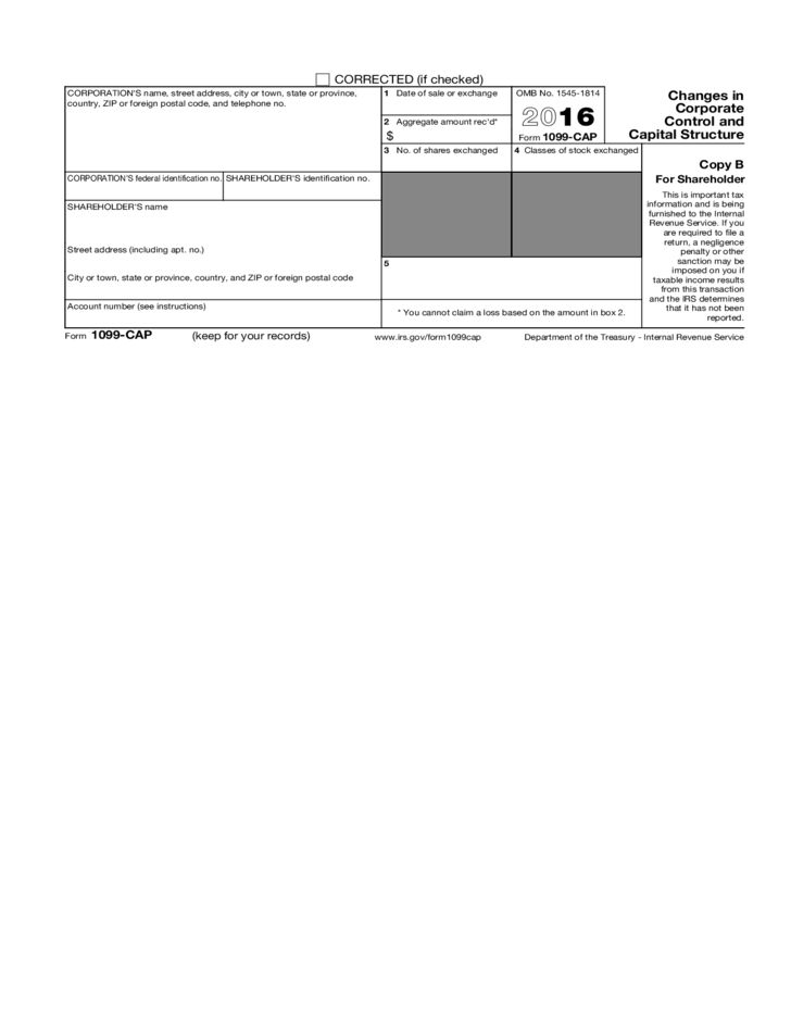 Form 1099 Cap Changes In Corporate Control And Capital Structure