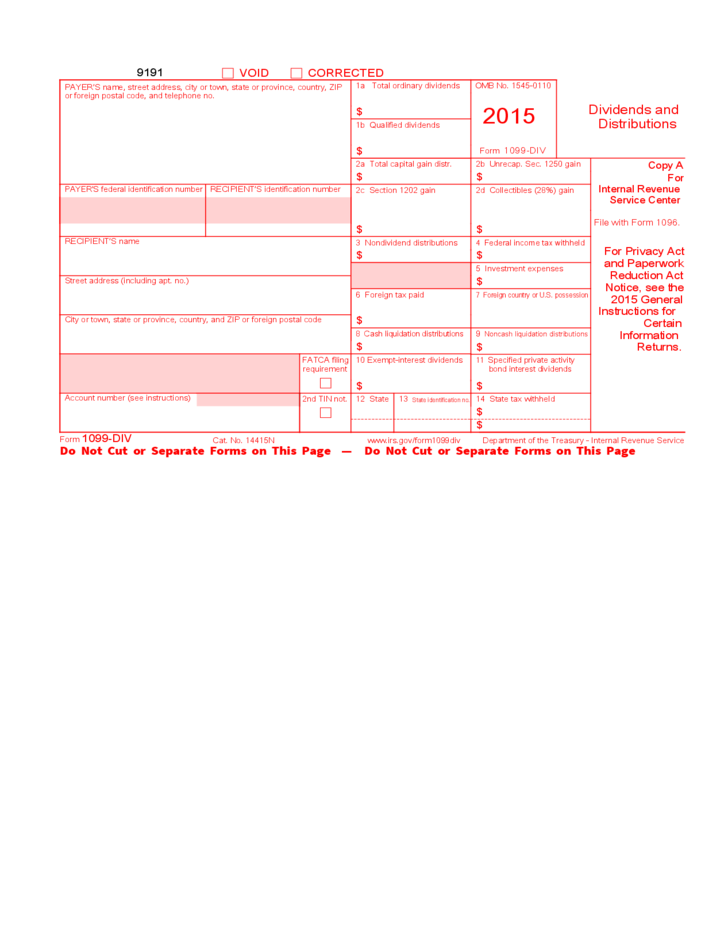 Form 1099 Div Dividends And Distributions 2015 Free Download