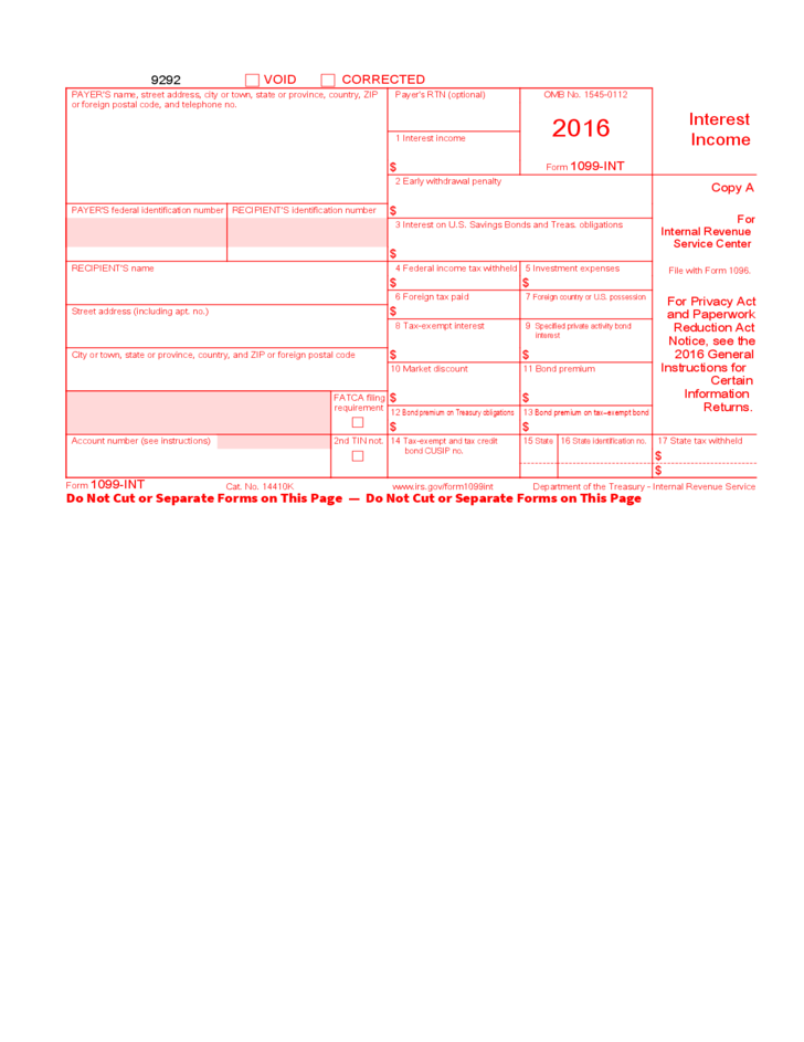 Form 1099-INT - Interest Income (2016) Free Download