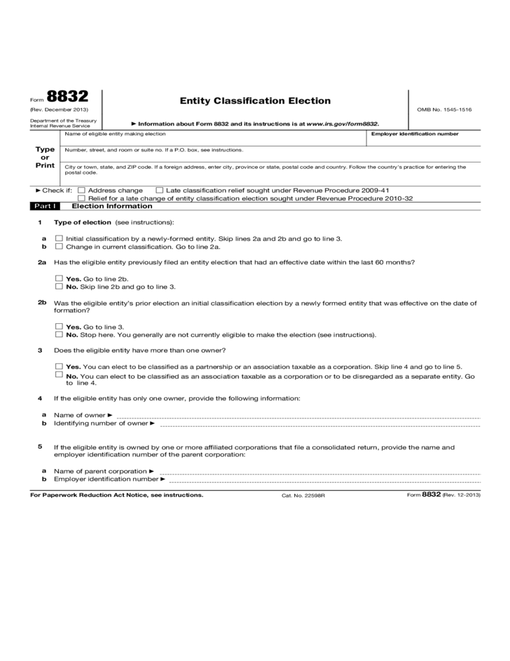 Form 8832 Entity Classification Election 2013 Free Download