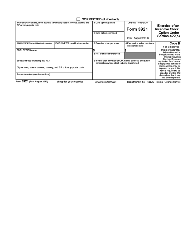 Irs form for stock options