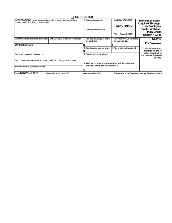 Form 3922 - Transfer of Stock Acquired Through An Employee Stock ...