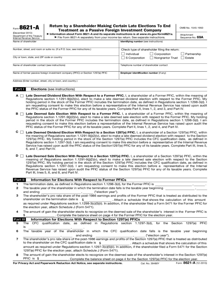Form 8621 A Return By A Shareholder Making Certain Late Elections