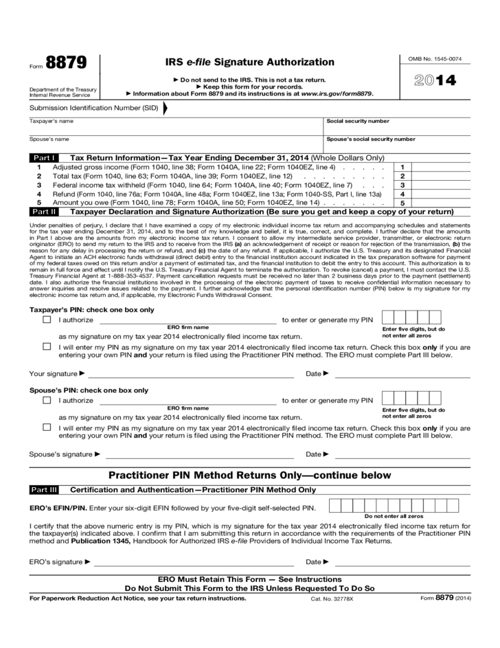 Form 8879 - IRS e-file Signature Authorization (2014) Free Download