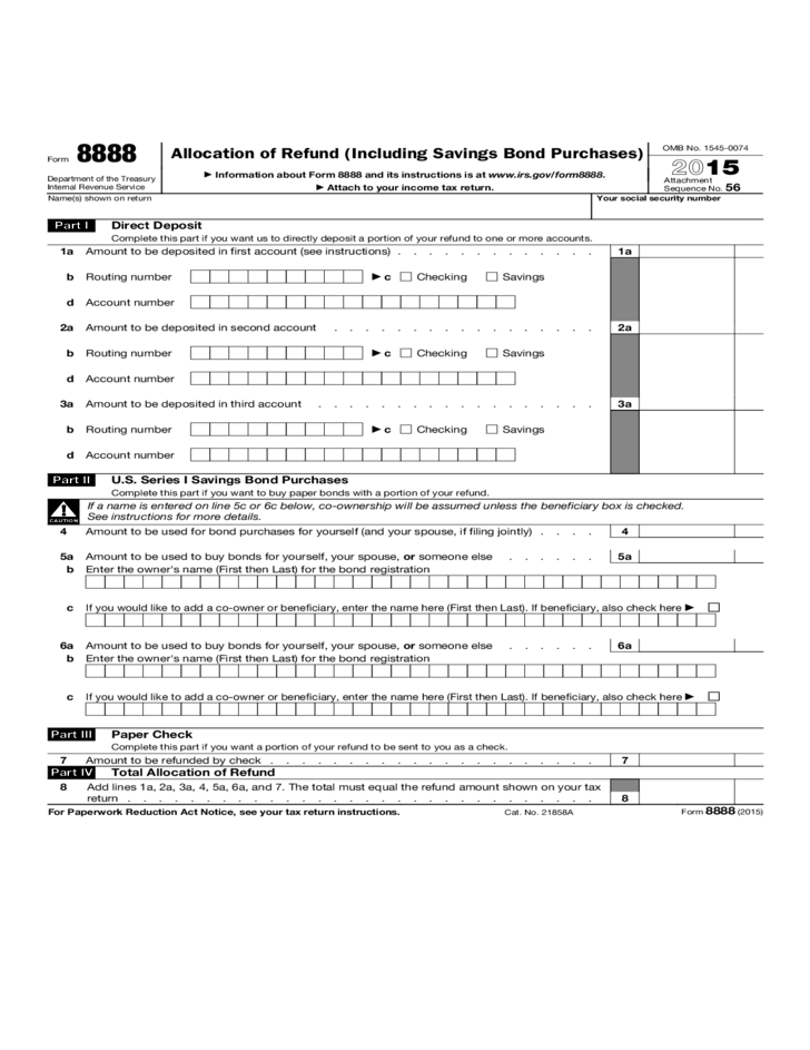 Form 8888 Allocation Of Refund Including Savings Bond Purchases