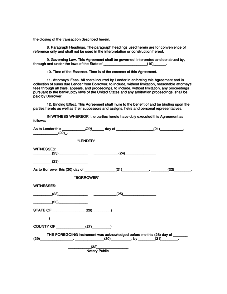 Mortgage Agreement Form Mortage Agreement Pic Form Fill