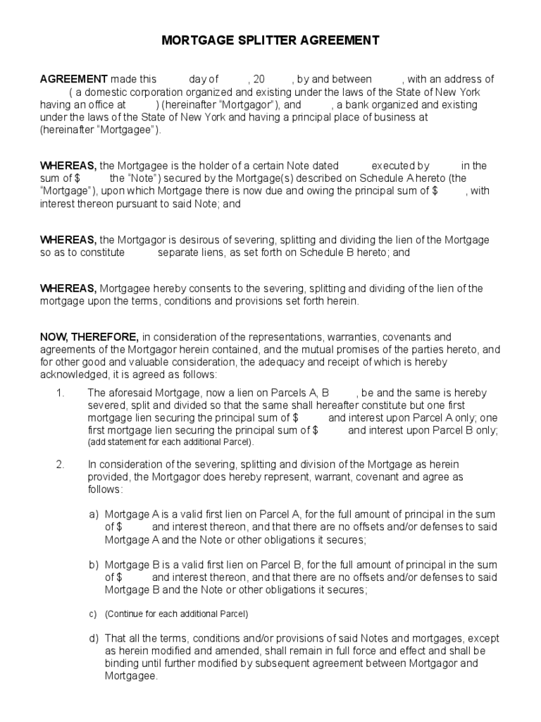 Mortgage Agreement Form 19 Free Templates In Pdf Word
