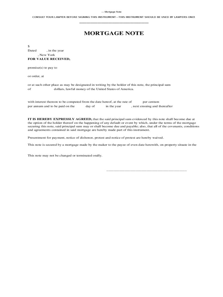 Mortgage Note  Mortgage Note Template