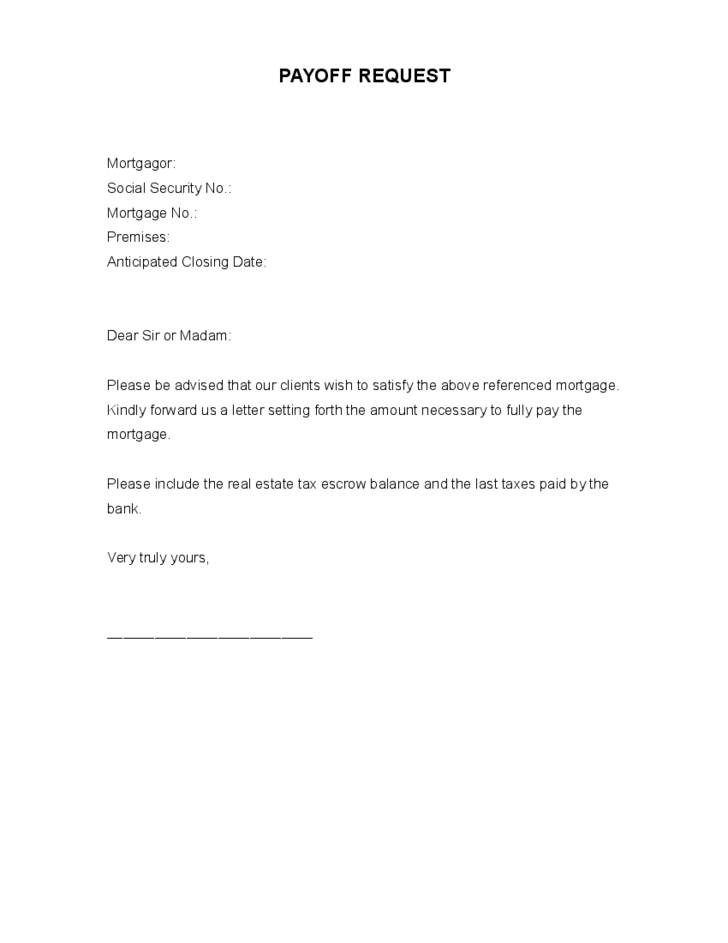 payoff letter template payoff request form free 377