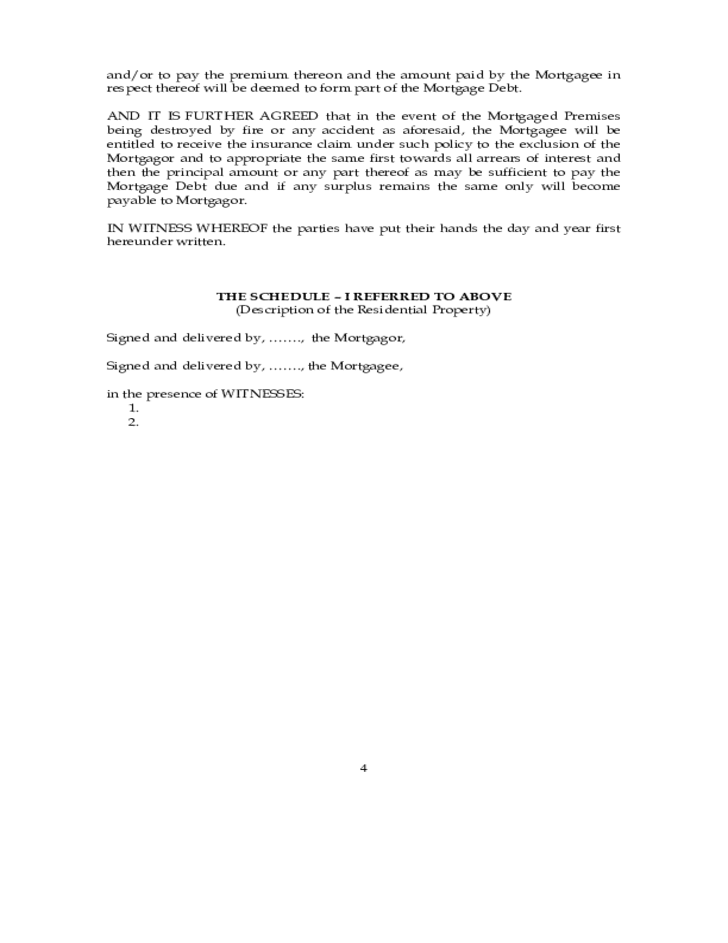 Deed of Simple Mortgage Free Download