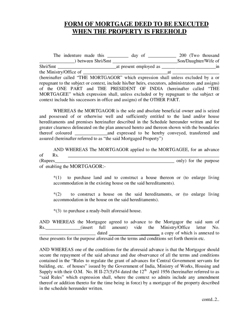 Form of Mortgage Deed