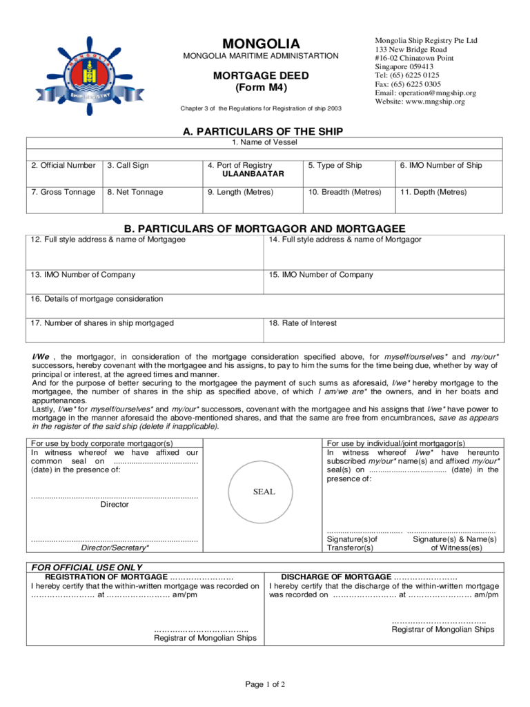 Example of Mortgage Deed