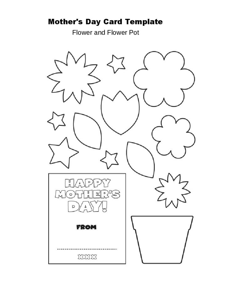 mother u0026 39 s day flower pot card template free download
