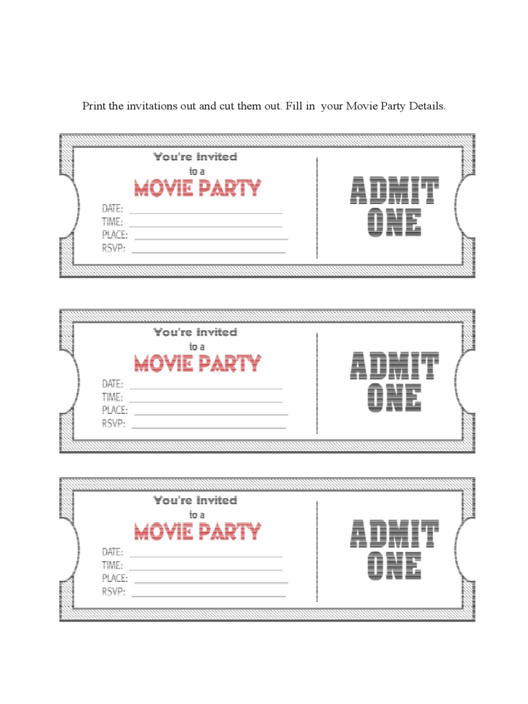 Movie Ticket Invitation Template 1 Free Templates In PDF Word Movie Ticket  Party Invitation Template D1  Movie Ticket Template For Word