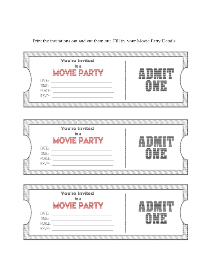 1 Movie Ticket Party Invitation Template  Free Printable Movie Ticket Invitations