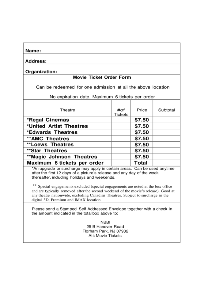 Doc.#585650: Ticket Order Form Template – 13 Event Order Templates
