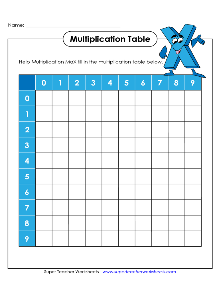 Multiplication chart 6 free templates in pdf word for Table d multiplication