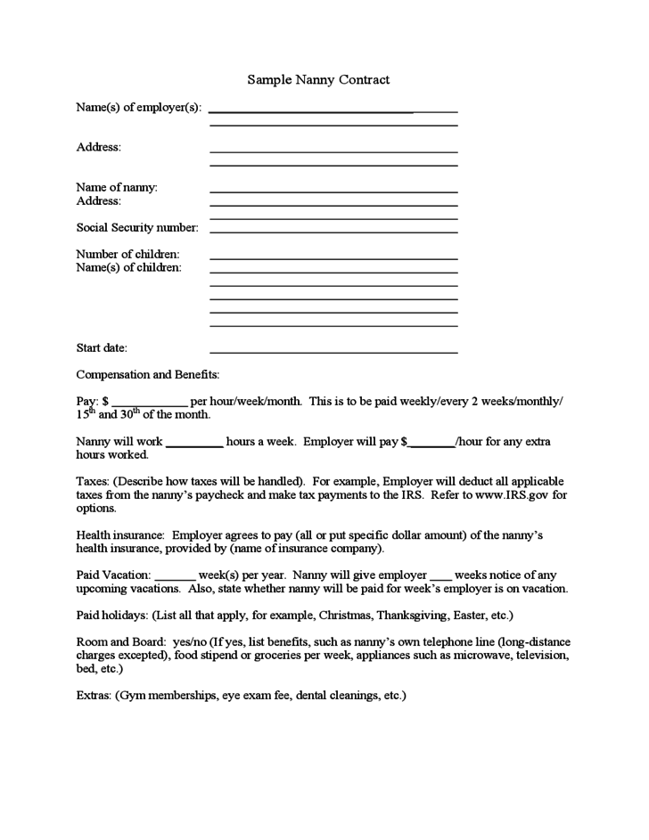 sample nanny contract free download