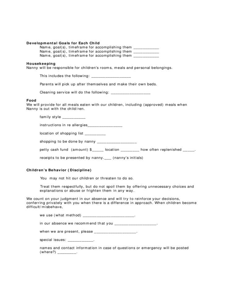 Housekeeper Contract Template Vaydileforic