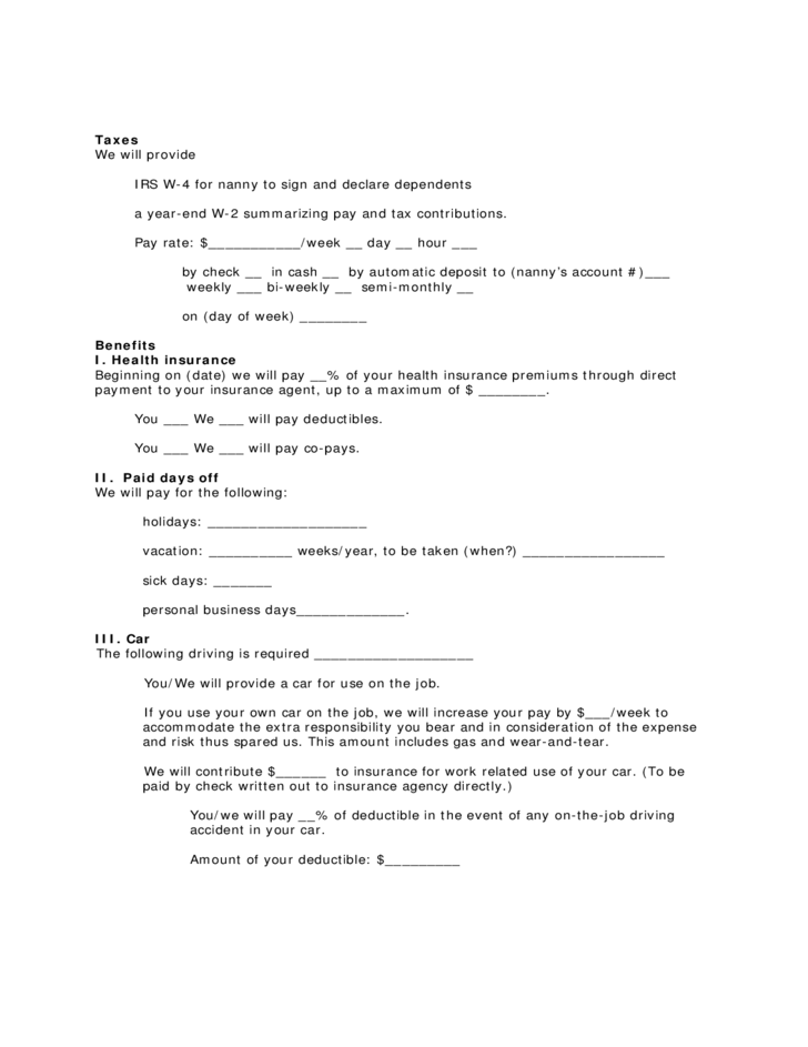 Contract Form For Live Out Nanny Free Download