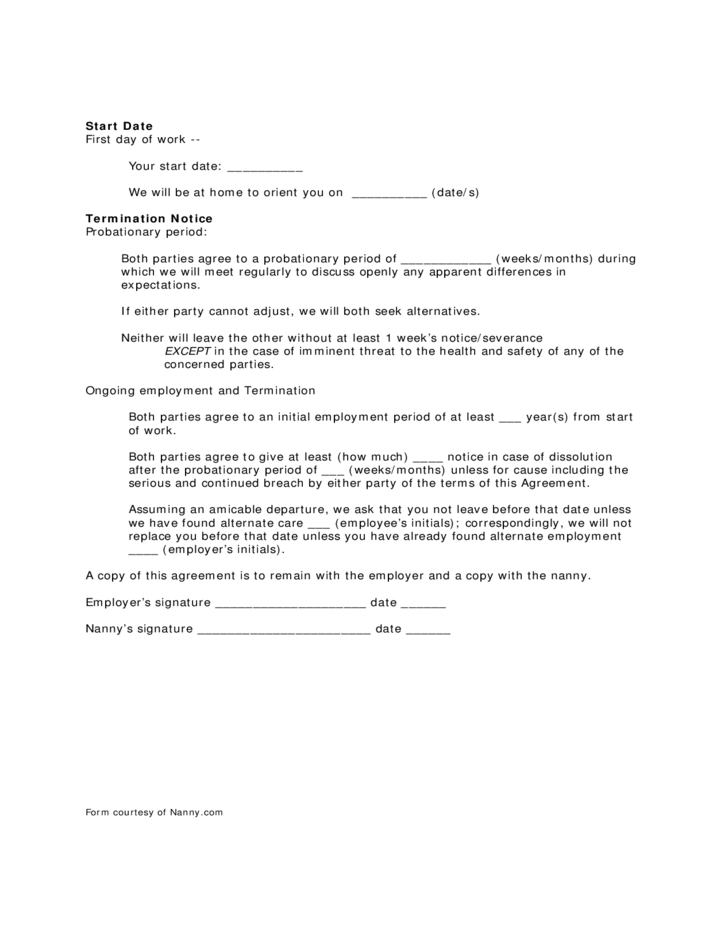 6 Contract Form For Live Out Nanny