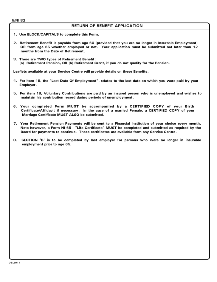 The National Insurance Board Retirement Benefit Application