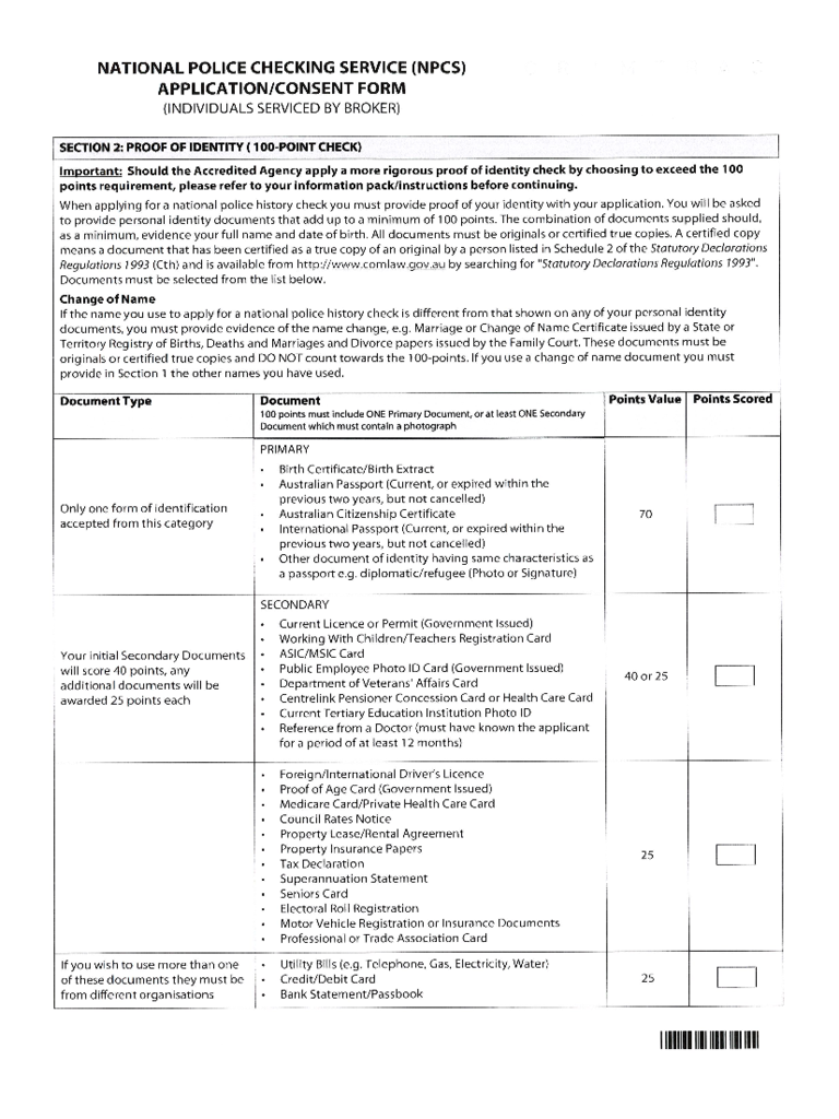 National Police Service Application/Consent Form