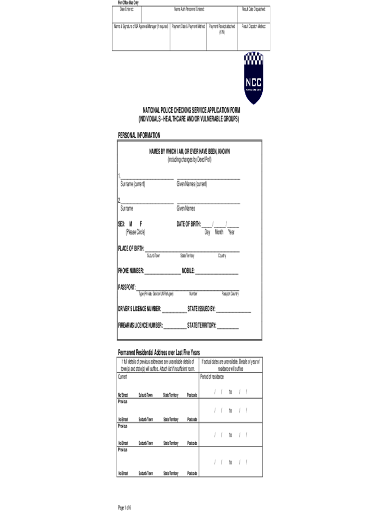 National Police Checking Service Application Form - 4 Free Templates ...