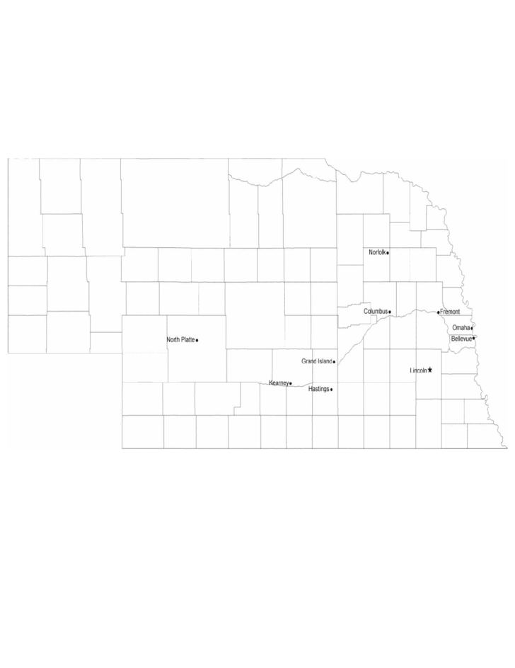 Map of Nebraska Cities with City Names