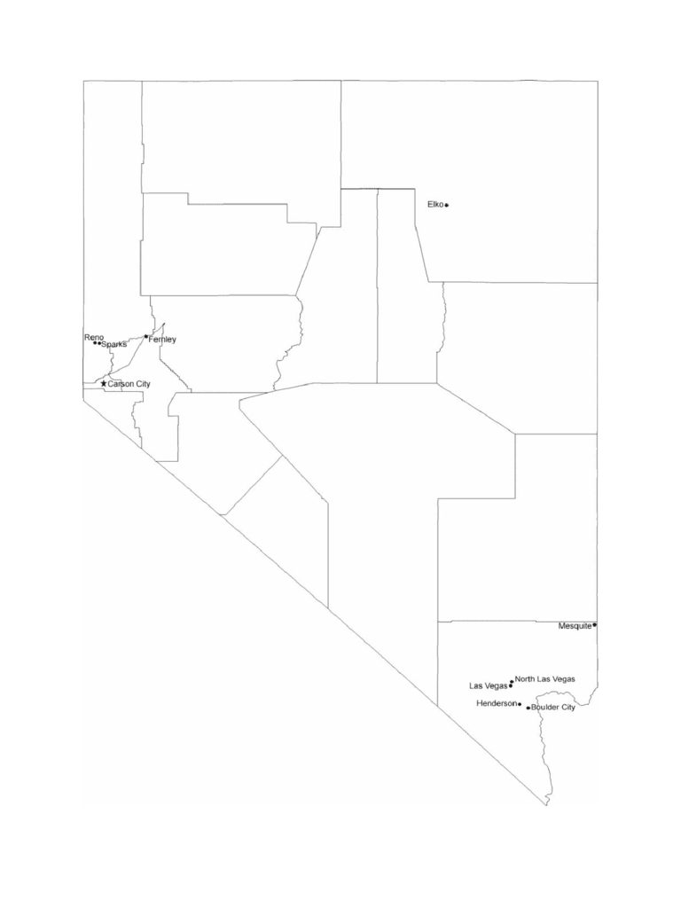 Map of Nevada Cities with City Names