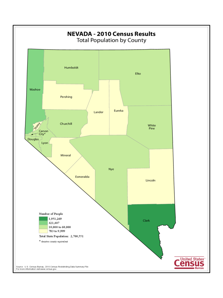 Nevada County Population Map