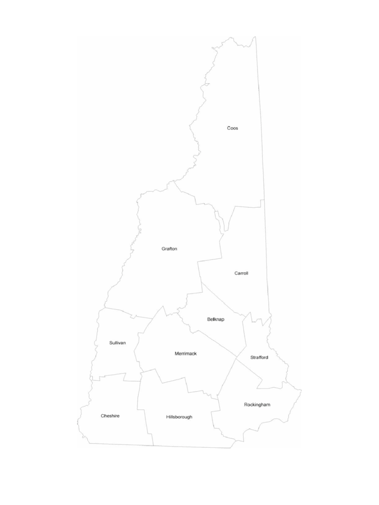 New Hampshire County Map with County Names