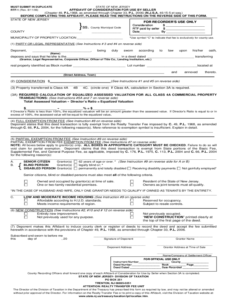 Affidavit of Consideration for Use by Seller - New Jersey