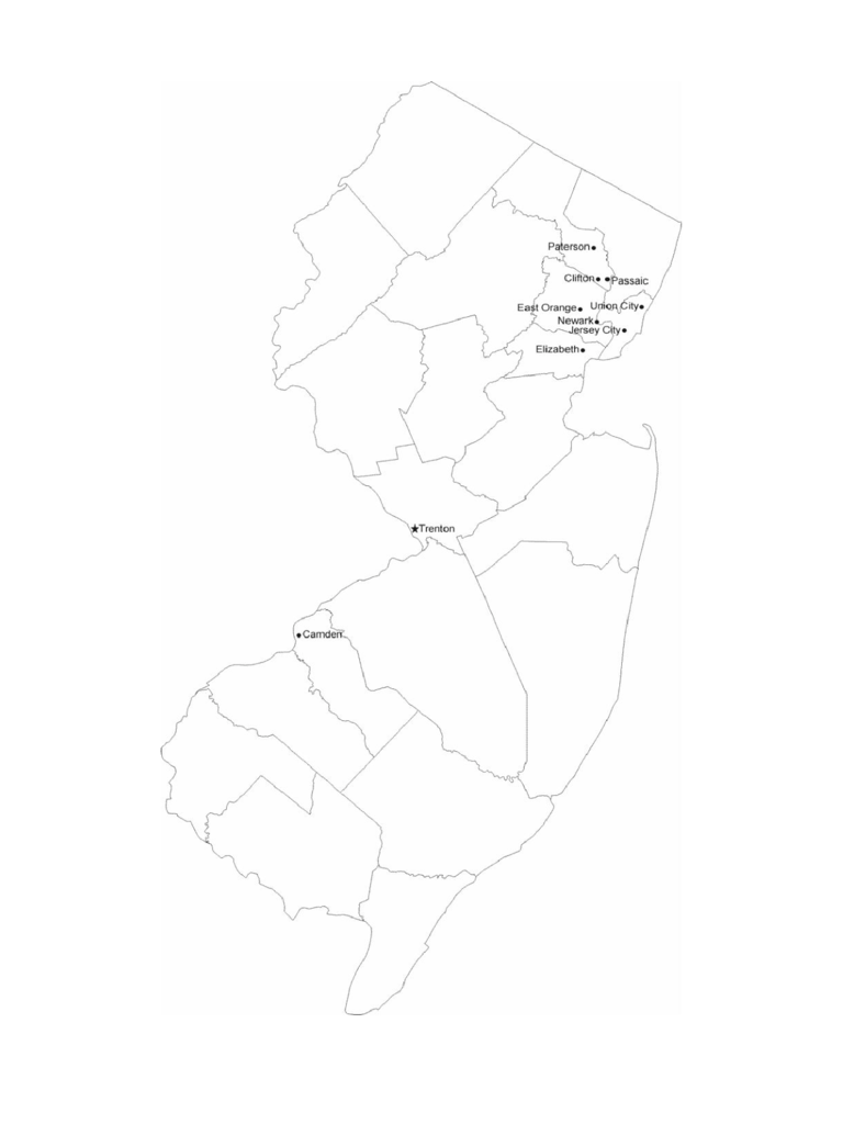 Map of New Jersey Cities with City Names