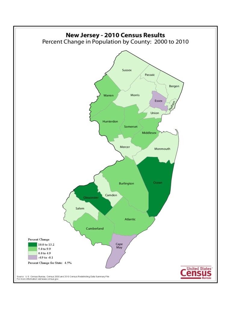 New Jersey County Population Change Map