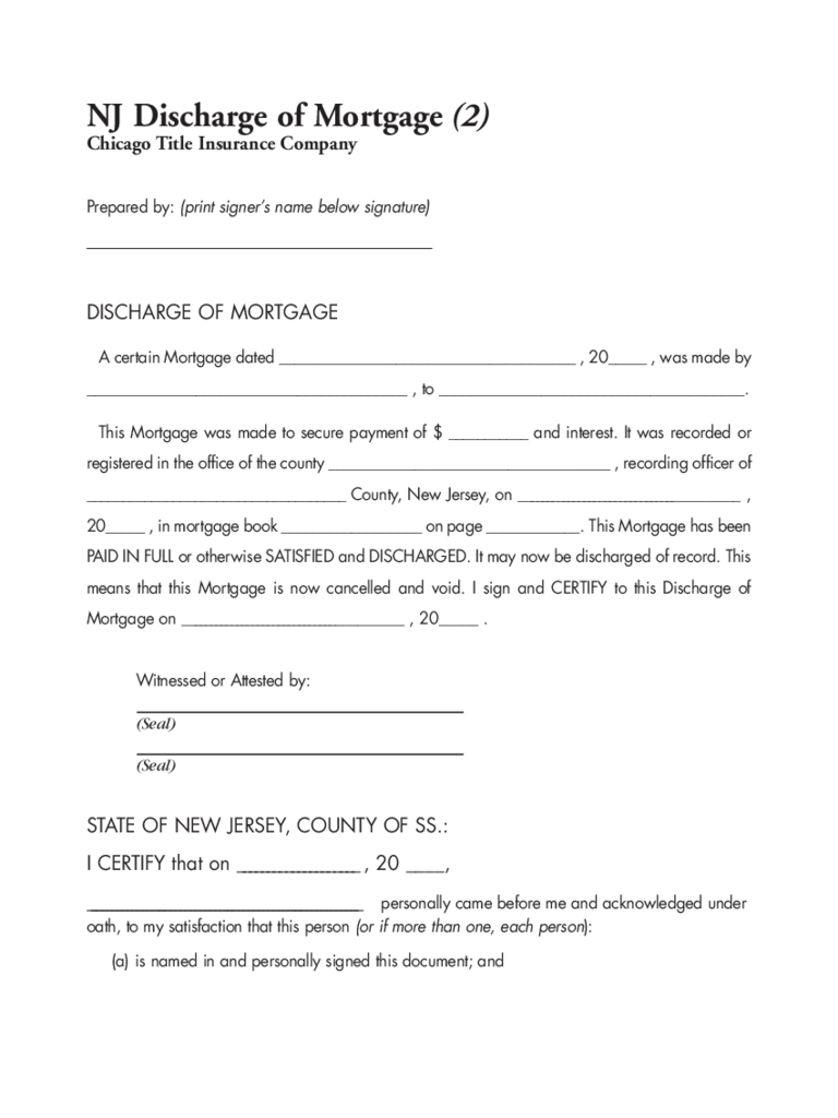 Sample Discharge of Mortgage - New Jersey Free Download
