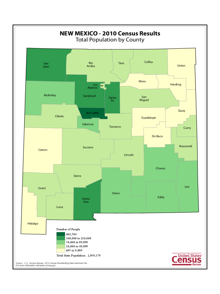 New Mexico County Population Map