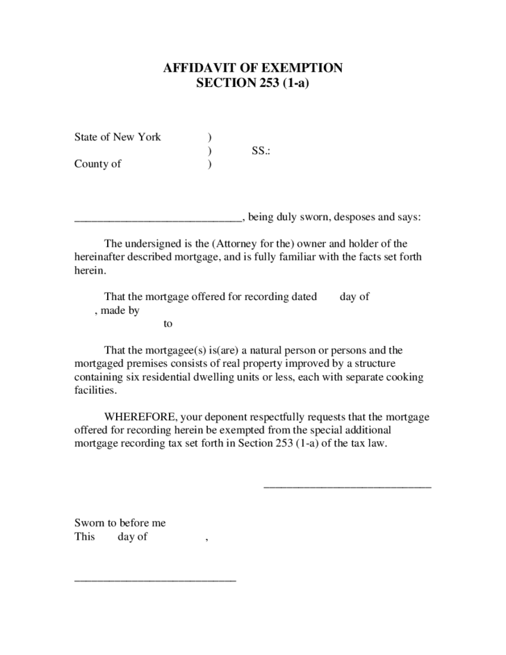 Affidavit of Exemption Section 253 1a Free Download – Affidavit of Facts Template