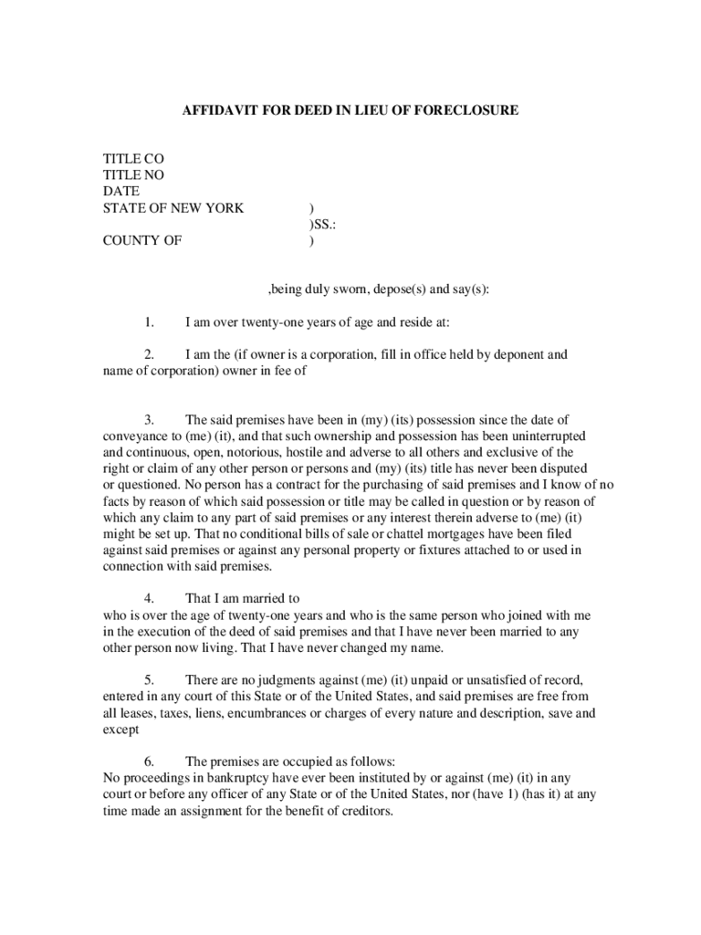 Affidavit for Deed in Lieu of Foreclosure - New York