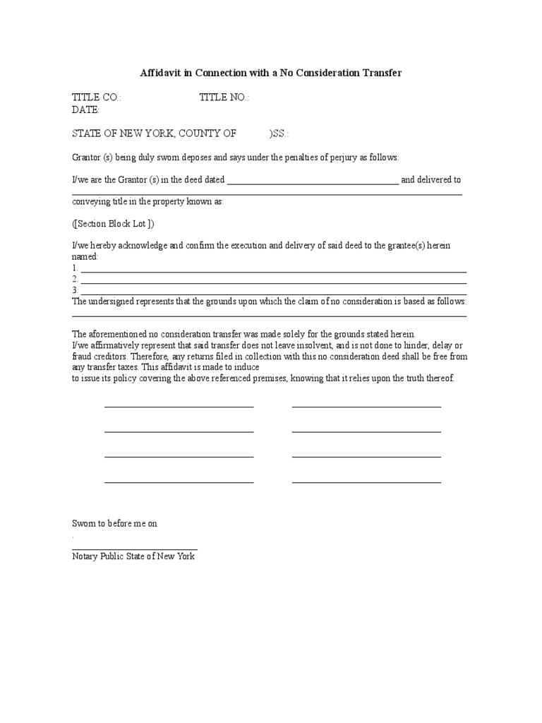 Affidavit in Connection with a No Consideration Transfer