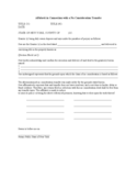 Affidavit in Connection with a No Consideration Transfer Free Download