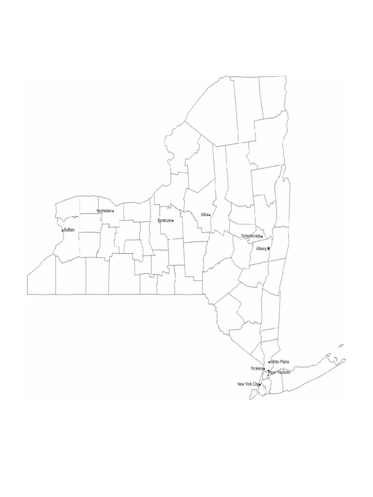 Map of New York Cities with City Names