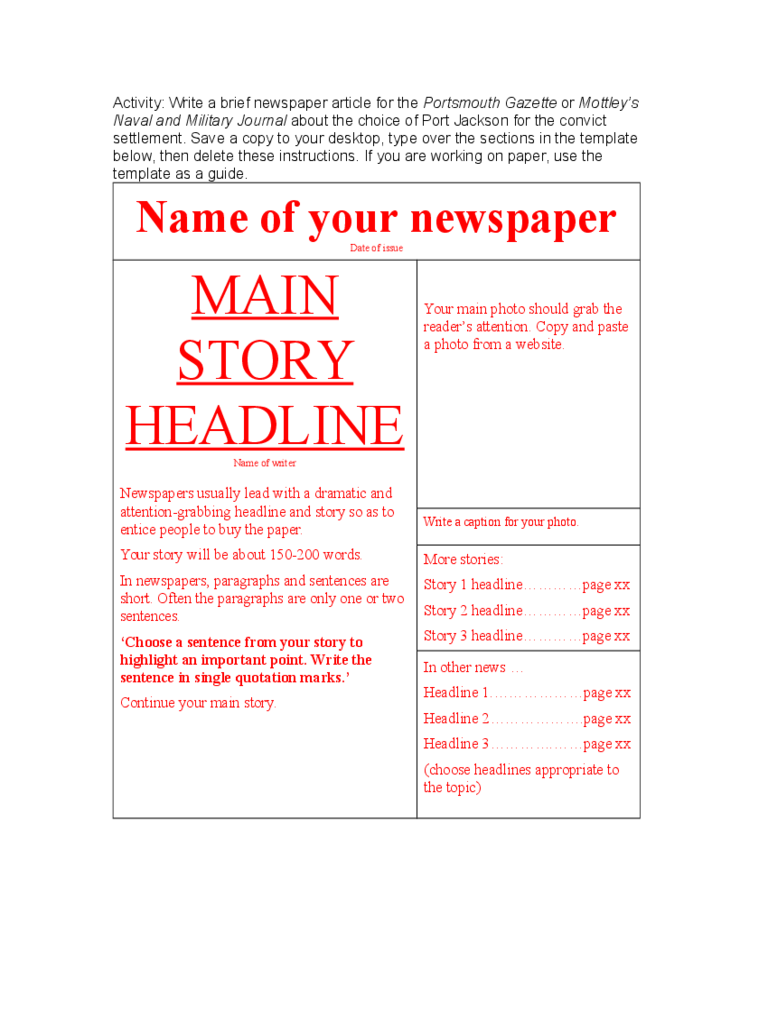 Newspaper Sample Template
