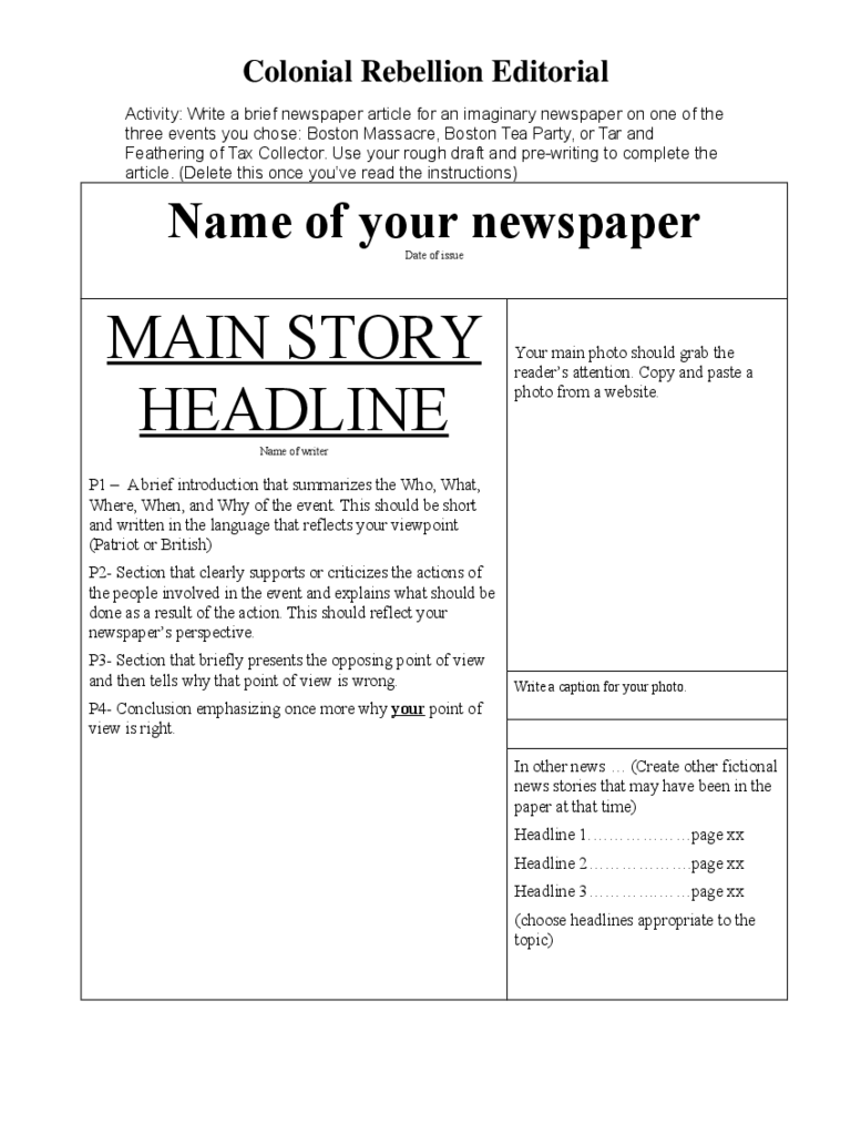 Newspaper template - Powell County Schools
