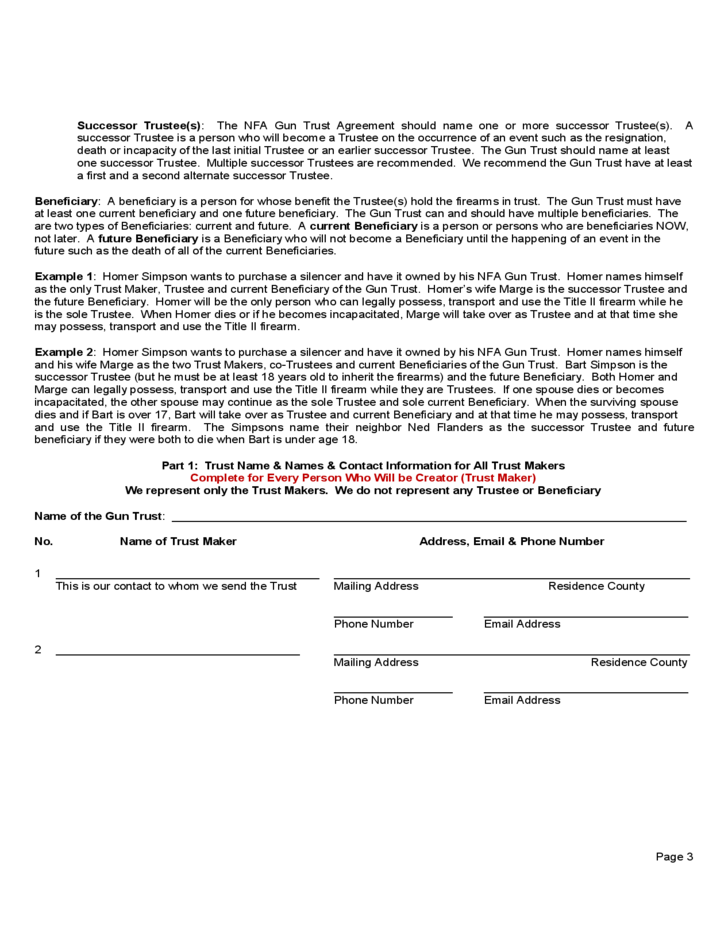 Nfa Gun Trust Form - Arizona Free Download