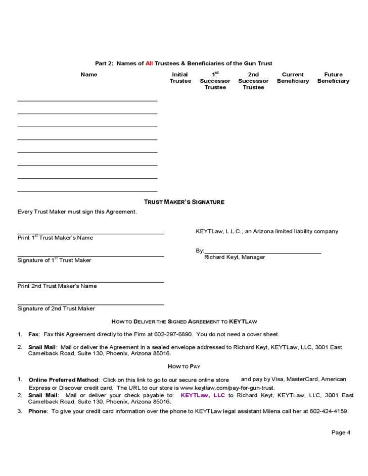 nfa trust template - 28 images - national firearms act trust forms ...