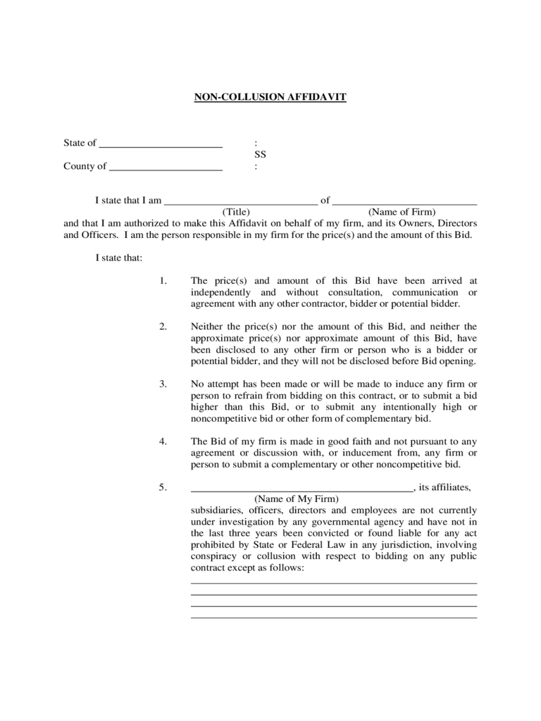 Non-Collusion Affidavit Form - Montgomery County Community College