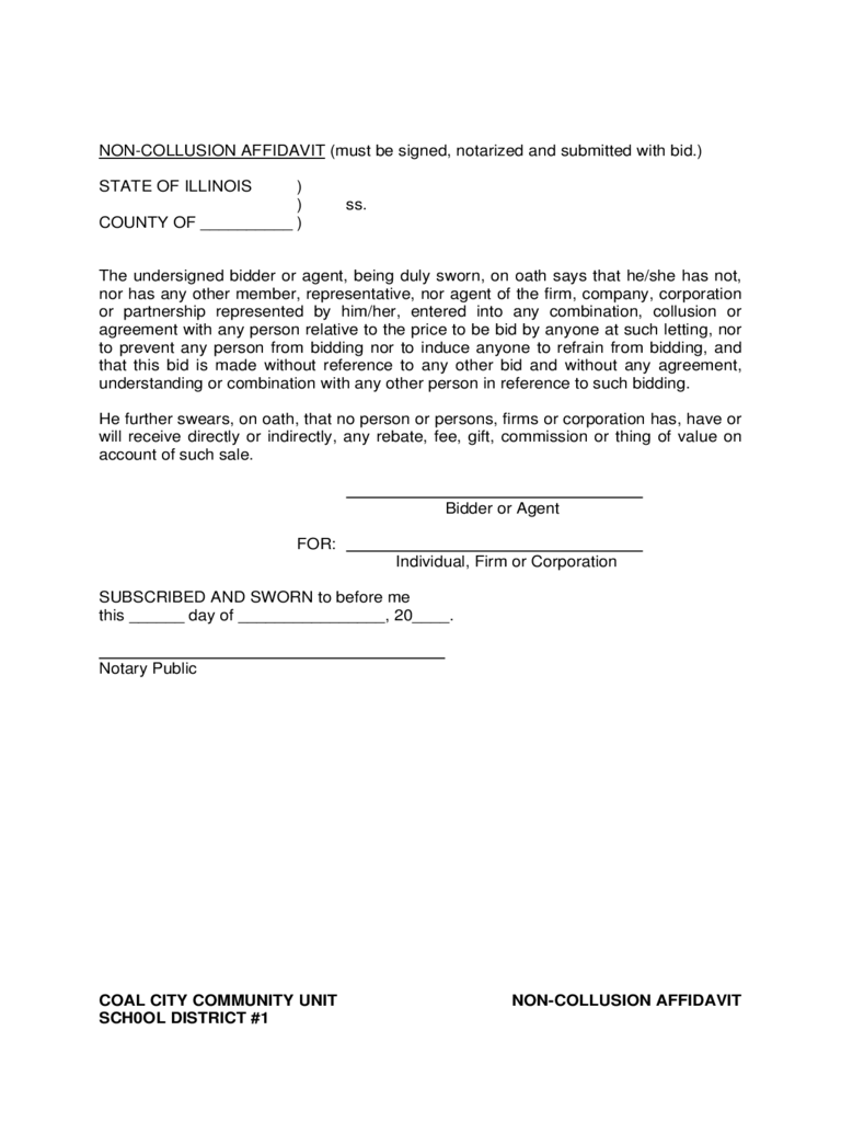 Non-Collusion Affidavit Form - Illinois
