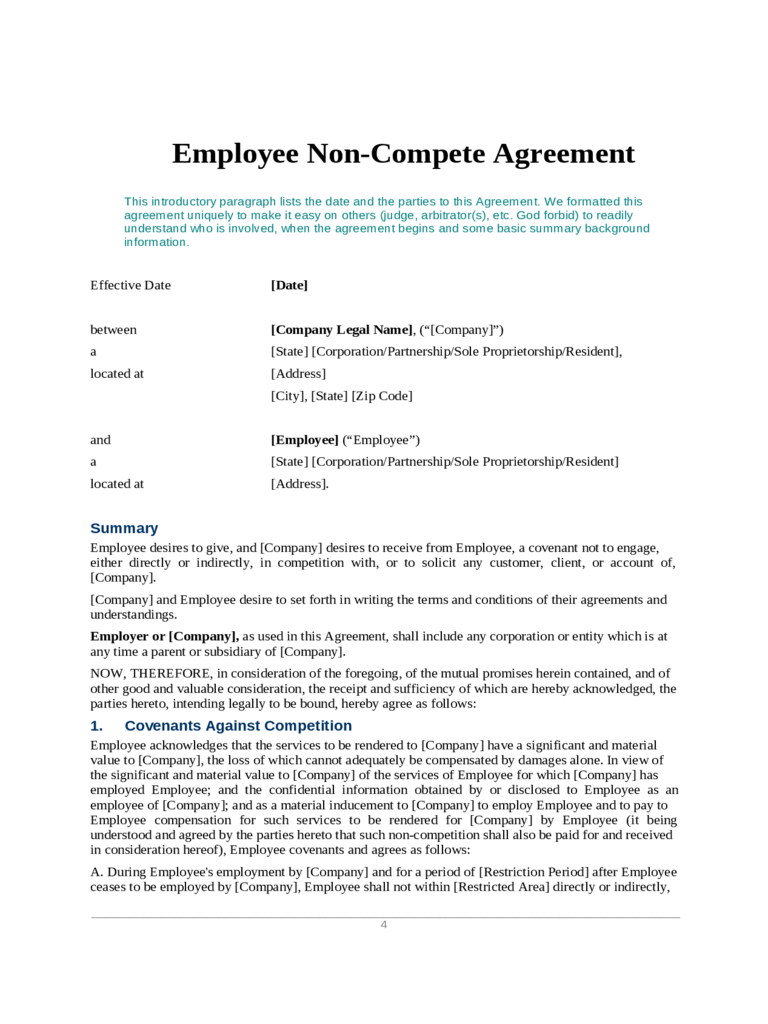 Non Compete Agreement Form 4 Free Templates In Pdf Word Excel