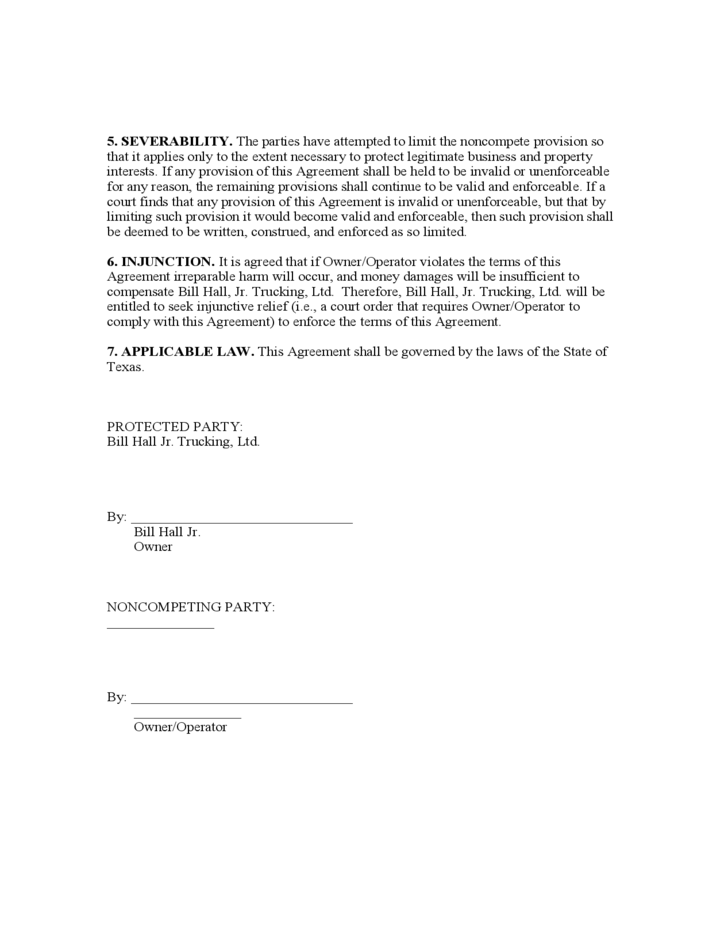 Sample Non Compete Agreement Free Download